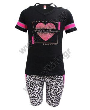 Σετ μπλούζα WILD HEART και λεοπάρ ποδηλατικό κολάν 211531