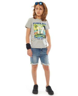 Σετ T-shirt SUPER RUN και τζην βερμούδα Hashtag 214742