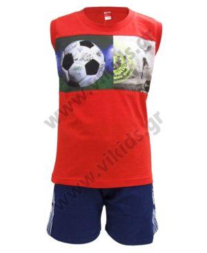 Σετ αμάνικη μπλούζα SOCCER και βερμούδα 211761 Joyce
