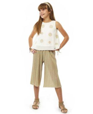Σετ με μπλούζα και μεταλιζέ πλισέ παντελόνα 214008 EBITA