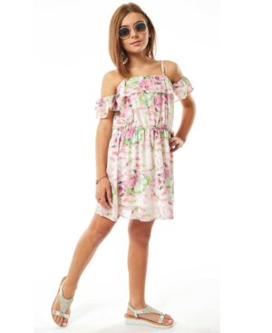 Φλοράλ φόρεμα με ράντες και βολάν 214006 EBITA