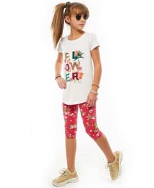 Σετ μπλούζα με παγιέτες FLOWER και εμπριμέ κάπρι 214056 EBITA