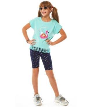 Σετ μπλούζα με παγιέτες ΦΛΑΜΙΝΓΚΟ και εμπριμέ ποδηλατικό 214104 EBITA