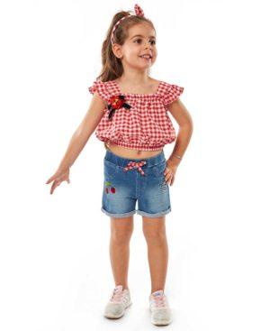 Σετ καρώ μπλούζα με στέκα και τζην σορτς EBITA 214236