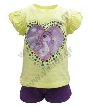 Σετ T-Shirt με ολόγραμμα ΜΟΝΟΚΕΡΟΣ και σορτς 211138 Joyce
