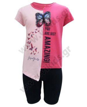 Σετ μπλούζα ΠΕΤΑΛΟΥΔΑ με παγιέτες και ποδηλατικό κολάν 211532 Joyce