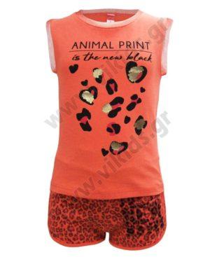 Σετ αμάνικη μπλούζα και σορτσάκι ANIMAL PRINT 211539 Joyce