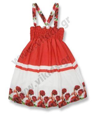 Φλοράλ φόρεμα με ράντες και σφηγκοφωλιά 6128 Scarabeo