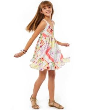 Εμπριμέ φόρεμα με ράντες και ζώνη 214040 EBITA
