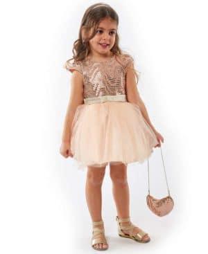 Φόρεμα τούλι μεταλλιζέ και τσαντάκι EBITA 214284