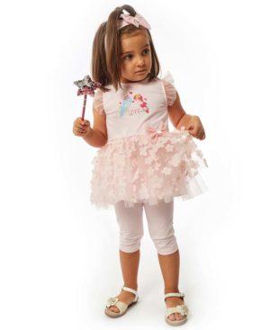 Ροζ βρεφικό σετ με φόρεμα κολάν και κορδέλα EBITA 214529