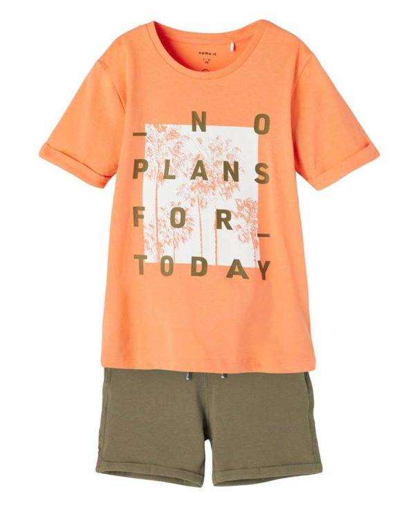 Σετ με T-Shirt NO PLANS και βερμούδα 7594-1 nameit organic