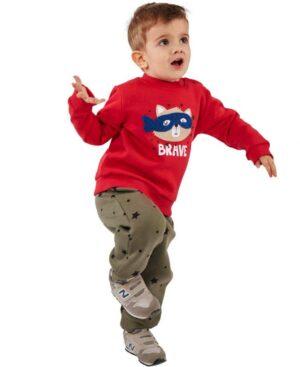 Βρεφικό σετ φούτερ BRAVE Hashtag 215616 κόκκινο