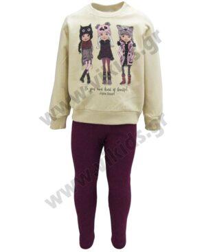 Σετ φούτερ μπλούζα 3 GIRLS και κολάν 216113 Joyce