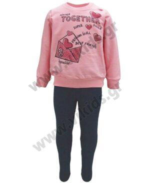 Σετ φούτερ μπλούζα TOGETHER και κολάν 216115 Joyce ροζ