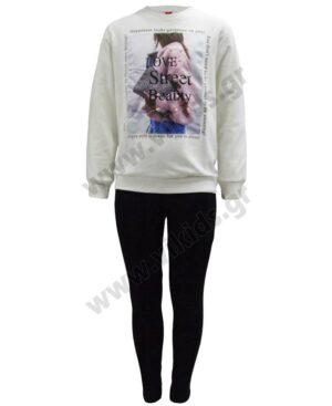 Σετ μπλούζα φούτερ LOVE STREET και κολάν Joyce 216520 εκρού