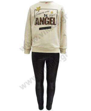 Σετ μπλούζα φούτερ ANGEL και κολάν δερματίνη 216522 Joyce