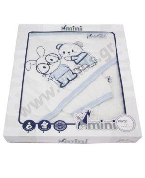 Βρεφικό μπουρνούζι - πετσέτα και λαβέτα MI-001 mini HASHTAG