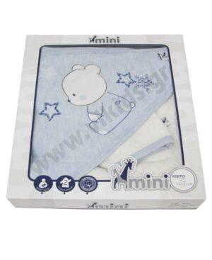 Βρεφικό μπουρνούζι - πετσέτα και λαβέτα ΑΡΚΟΥΔΑΚΙ MI-003 mini HASHTAG
