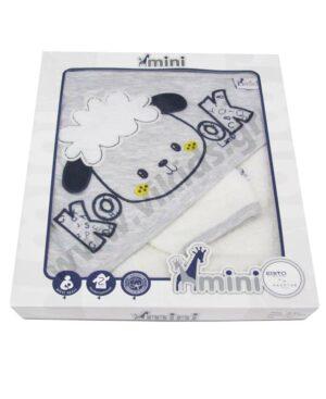 Βρεφικό μπουρνούζι - πετσέτα και λαβέτα ΠΡΟΒΑΤΑΚΙ MI-004 mini HASHTAG