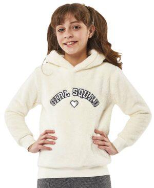 Μπλούζα φλις GIRL SQUAD με κουκούλα 215143 ΕΒΙΤΑ εκρού