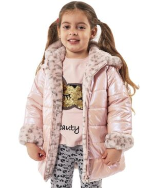 Τζάκετ διπλής όψης με ροζ λεοπάρ συνθετική γούνα EBITA 215204