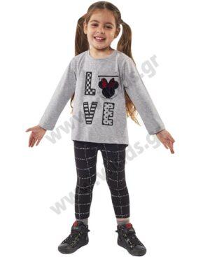 Σετ μπλούζα LOVE με παγιέτες και κολάν 215210 EBITA γκρι