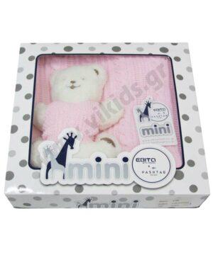 Βρεφική ροζ πλεκτή κουβέρτα και ΑΡΚΟΥΔΑΚΙ K-400 mini EBITA